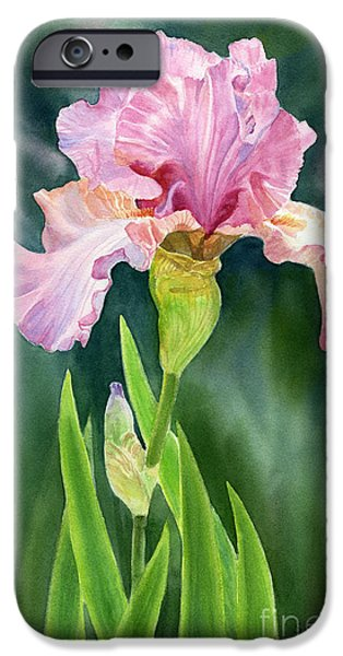 Garden iPhone Cases - Pink Iris with Dark Background  iPhone Case by Sharon Freeman
