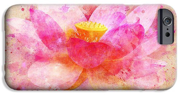 Little iPhone Cases - Pink Lotus Flower Abstract Artwork iPhone Case by Nikki Marie Smith