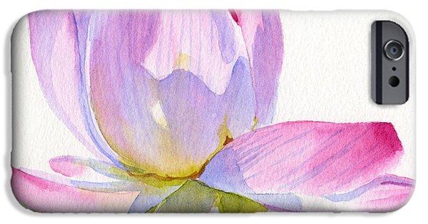 Botanical iPhone Cases - Pink Lotus Square Design iPhone Case by Sharon Freeman