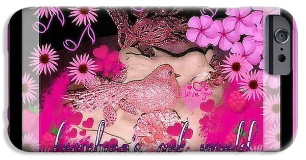 Birds Sculptures iPhone Cases - Pink Love Birds 2 iPhone Case by Tracie Howard