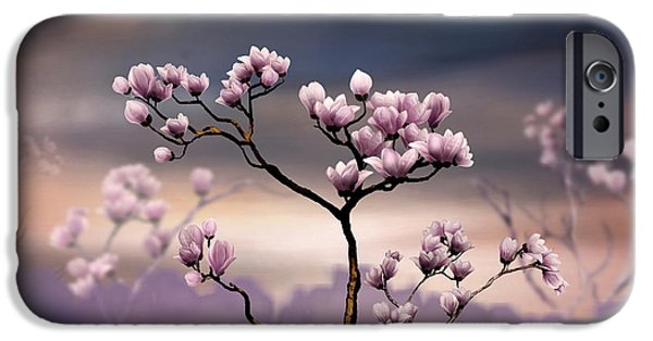 Bedros Mixed Media iPhone Cases - Pink Magnolia - Dark Version iPhone Case by Bedros Awak