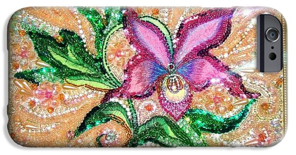Beadwork Jewelry iPhone Cases - Pink Orchid Fancy Bead Embroidery iPhone Case by Sofia Metal Queen
