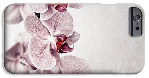 Flora Photographs iPhone Cases - Pink orchid vintage iPhone Case by Jane Rix