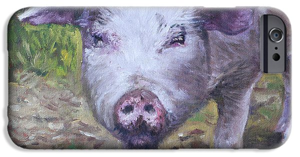 Piglets Paintings iPhone Cases - Pink Pig Portrait iPhone Case by Martin Davey
