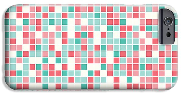 Geometric Artwork iPhone Cases - Pink Pixel Art iPhone Case by Mike Taylor