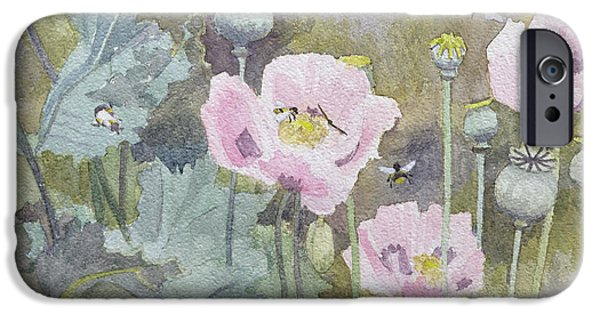 Bee iPhone Cases - Pink poppies with bees iPhone Case by Rosalie Bullock