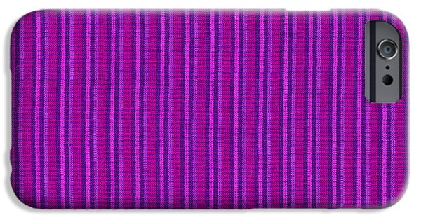 Textured Digital Art iPhone Cases - Pink Purple And Black Striped Textile Background iPhone Case by Keith Webber Jr