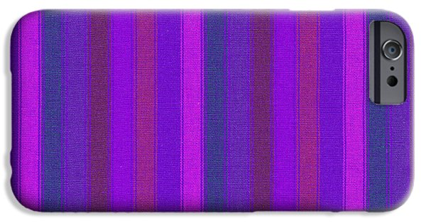 Textured Digital Art iPhone Cases - Pink Purple And Blue Striped Textile Background iPhone Case by Keith Webber Jr
