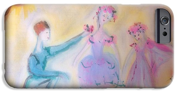 Dance Ballet Roses iPhone Cases - Pink Rose ballet trio iPhone Case by Judith Desrosiers