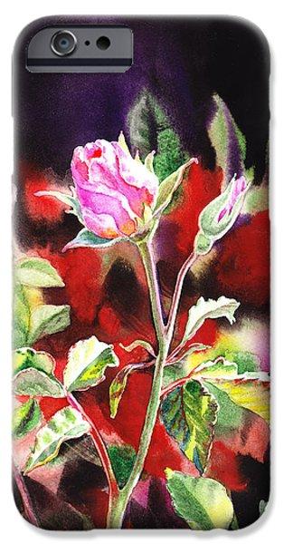 Green Roses iPhone Cases - Pink Rose Bloom iPhone Case by Irina Sztukowski