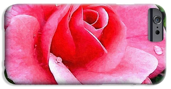 Abstract Digital Sculptures iPhone Cases - Pink Rose For Anne H a iPhone Case by Gert J Rheeders