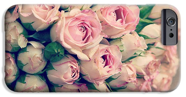 Process iPhone Cases - Pink rosebuds old photo iPhone Case by Jane Rix