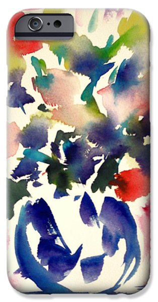 Abstract Expressionist iPhone Cases - Pink roses in a blue vase iPhone Case by  Tolere