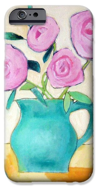 Old Pitcher Paintings iPhone Cases - Pink Roses In A Green Vase iPhone Case by Venus