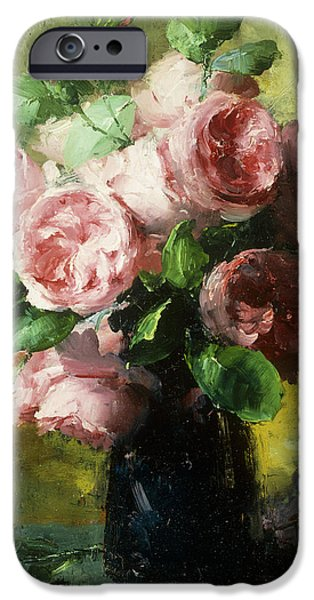 In Bloom Paintings iPhone Cases - Pink Roses in a Vase iPhone Case by Frans Mortelmans