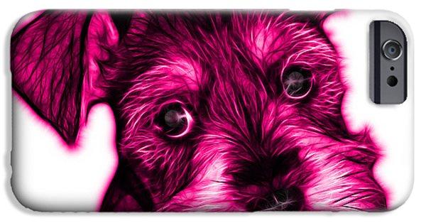 Puppy Digital Art iPhone Cases - Pink Salt and Pepper Schnauzer Puppy 7206 FS iPhone Case by James Ahn
