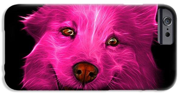 Mixed Labrador Retriever Paintings iPhone Cases - Pink Siberian Husky Mix Dog Pop Art - 5060 BB iPhone Case by James Ahn