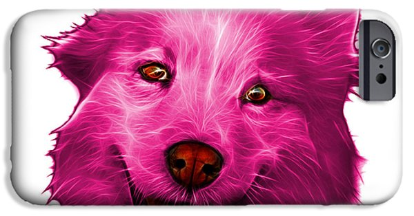 Mixed Labrador Retriever iPhone Cases - Pink Siberian Husky Mix Dog Pop Art - 5060 WB iPhone Case by James Ahn