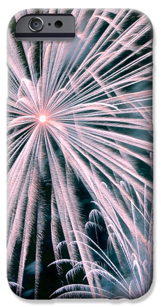 Fireworks iPhone Cases - Fireworks in Pink Colors iPhone Case by Vizual Studio