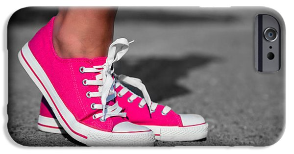 Sneaker iPhone Cases - Pink sneakers  iPhone Case by Michal Bednarek