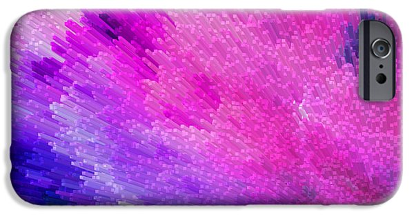 Wrap Digital Art iPhone Cases - Pink Star Dust Abstract Art By Sharon Cummings iPhone Case by Sharon Cummings