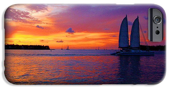 Sailboats In Water iPhone Cases - Pink Sunset in Key West Florida iPhone Case by Susanne Van Hulst