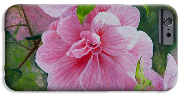 Gallery Sati iPhone Cases - Pink Swirl Garden iPhone Case by Shelley Irish