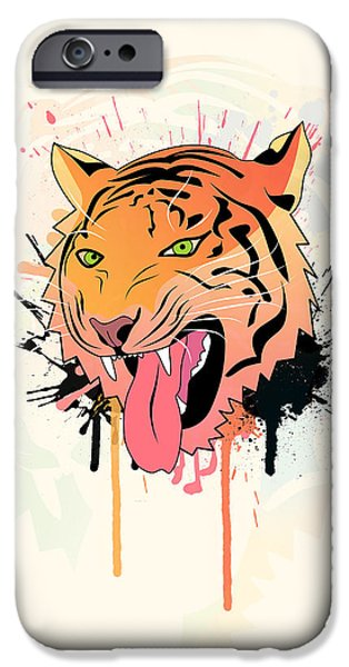 Lion iPhone Cases - Pink Tiger  iPhone Case by Mark Ashkenazi