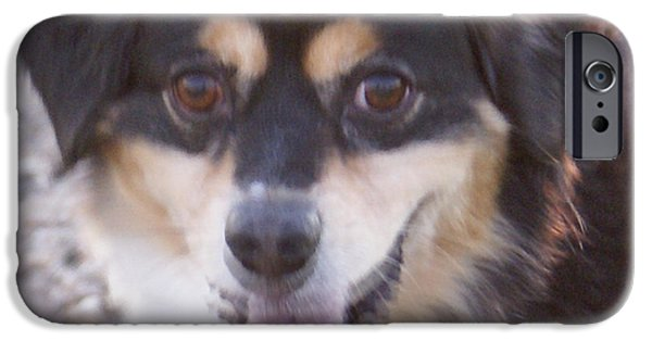 Puppy Digital Art iPhone Cases - Pink Tongue iPhone Case by Barbara Snyder