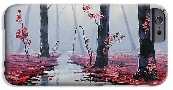 Tree Reflection iPhone Cases - Pink Trees River Landscape iPhone Case by Graham Gercken