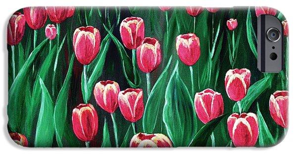 Flora iPhone Cases - Pink Tulip Field iPhone Case by Anastasiya Malakhova