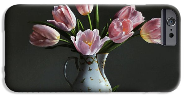 Laces iPhone Cases - Pink Tulips In A Chocolate Pot iPhone Case by Larry Preston