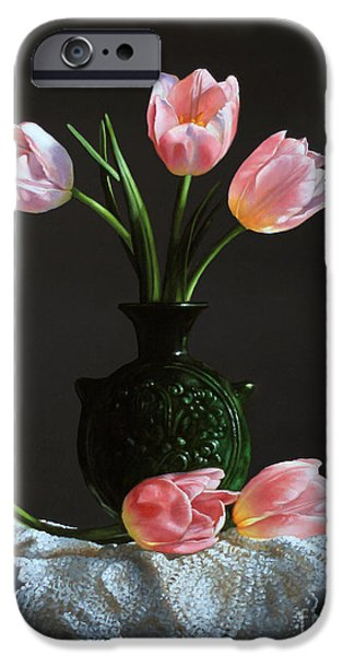 Pottery Paintings iPhone Cases - Pink Tulips In A Water Jug iPhone Case by Larry Preston