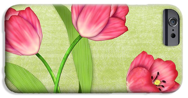 Posters On Mixed Media iPhone Cases - Pink Tulips in Pot iPhone Case by Valerie   Drake Lesiak