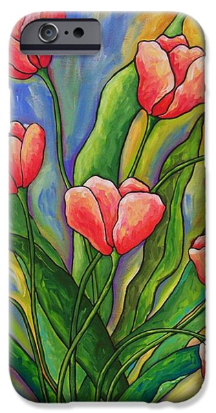 Impressionism Reliefs iPhone Cases - Pink Tulips iPhone Case by Peggy Davis
