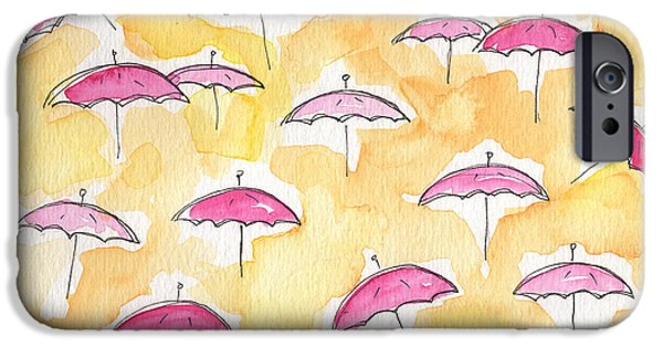 Rain iPhone Cases - Pink Umbrellas iPhone Case by Linda Woods