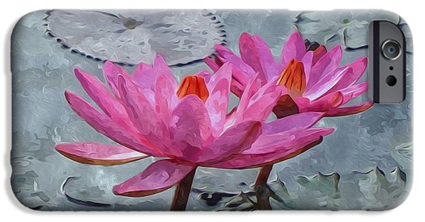 Garden Scene Paintings iPhone Cases - Pink water lily flowers blooming on pond iPhone Case by Lanjee Chee