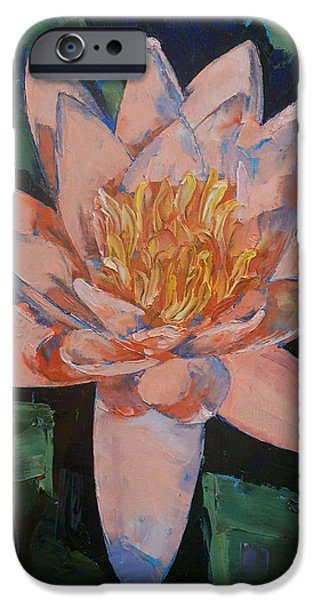 Michael iPhone Cases - Pink Water Lily iPhone Case by Michael Creese