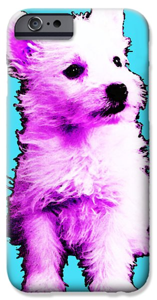Dog Mixed Media iPhone Cases - Pink Westie - West Highland Terrier Art by Sharon Cummings iPhone Case by Sharon Cummings