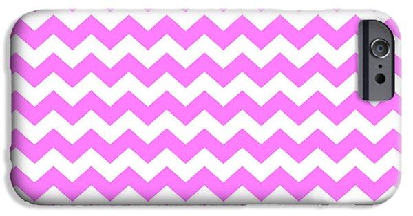 Stripes iPhone Cases - Pink White Zigzag Chevon Stripe Pattern iPhone Case by Tigerlynx