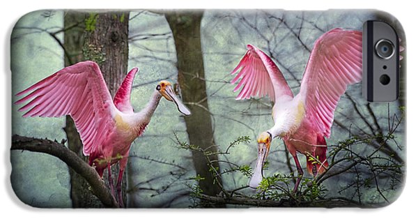 Spoonbill iPhone Cases - Pink Wings in the Swamp iPhone Case by Bonnie Barry