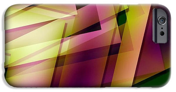 Transparency Geometric iPhone Cases - Pink Yellow and Green Geometry iPhone Case by Mario  Perez