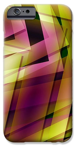 Pink Yellow and Green Geometry iPhone Case by Mario  Perez