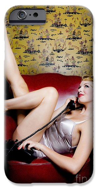 Pinup girl with phone iPhone Case by Diane Diederich