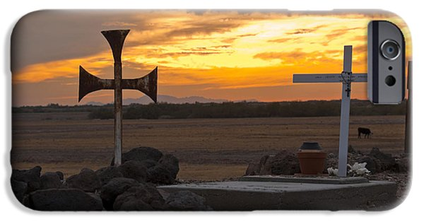 Headstones iPhone Cases - Pioneer Cemetery At Sunset iPhone Case by Ellen Thane