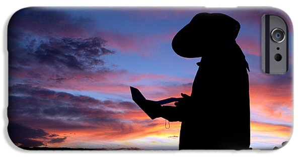 Pioneer Scene iPhone Cases - Pioneer Silhouette Reading Letter iPhone Case by Cindy Singleton