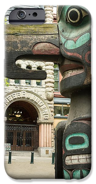 Totem iPhone Cases - Pioneer Square Seattle iPhone Case by Steve Gadomski