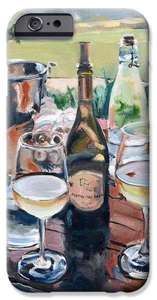 Wine Bottles iPhone Cases - Pippin Hill Picnic iPhone Case by Donna Tuten