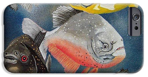 Piranha iPhone Cases - Pirahna  Fish iPhone Case by Debbie LaFrance
