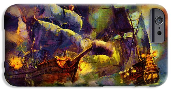 Recently Sold -  - Pirate Ships iPhone Cases - Pirate Battle iPhone Case by Christopher Lane